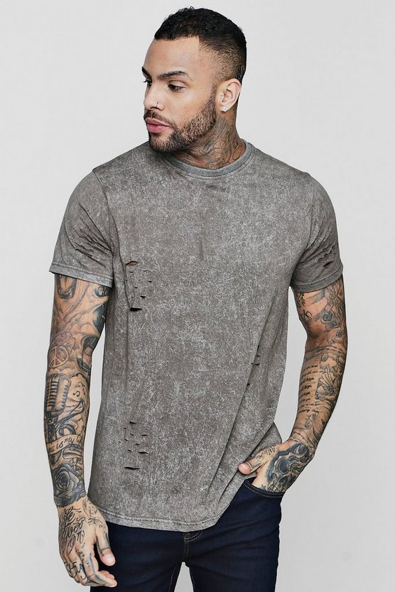 Longline T-Shirt With Distressing Enzyme Wash