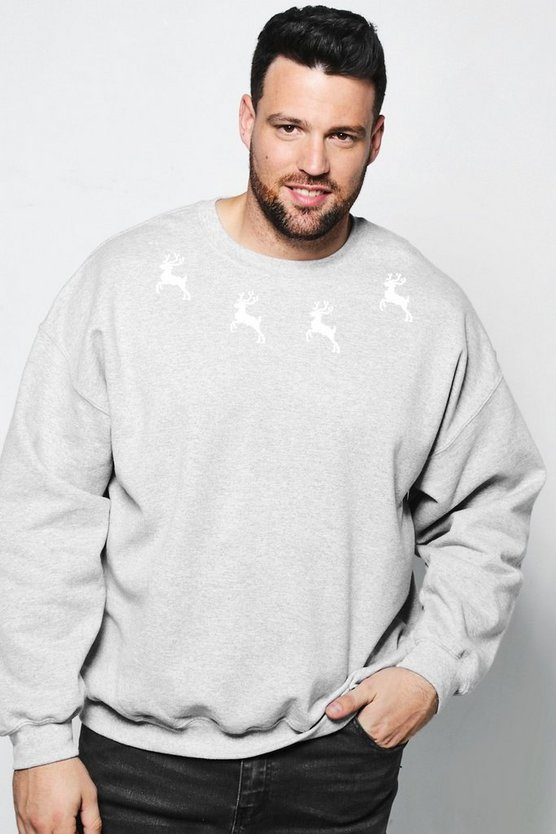 Big And Tall Christmas Reindeer Sweater