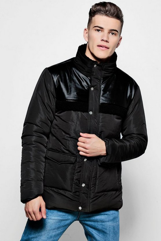 Borg Detail Padded Coat
