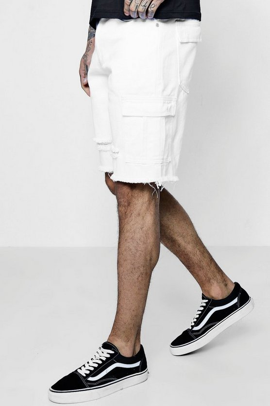 Bermuda Denim Shorts with Cargo Pockets