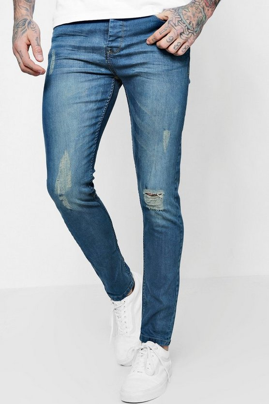 Skinny Antique Wash Fit Distressed Jeans
