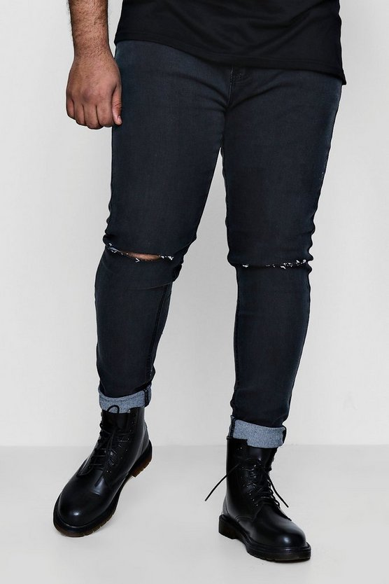 Big And Tall Ripped Knee Skinny Jeans