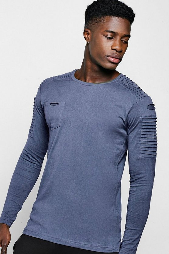 Long Sleeve Biker T-Shirt With Step Hem