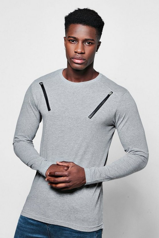 Long Sleeve Double Zip T-Shirt