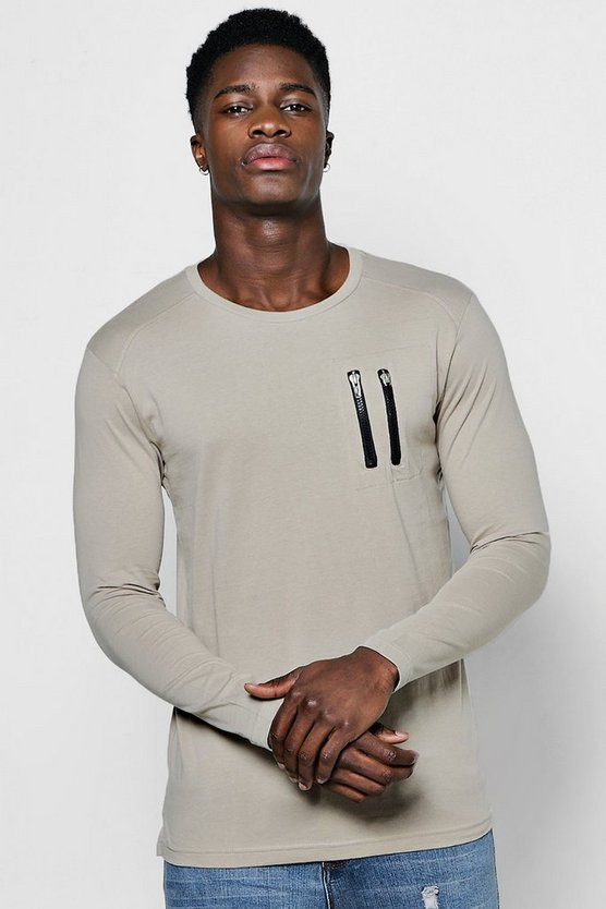 Long Sleeve MA1 Zip T-Shirt