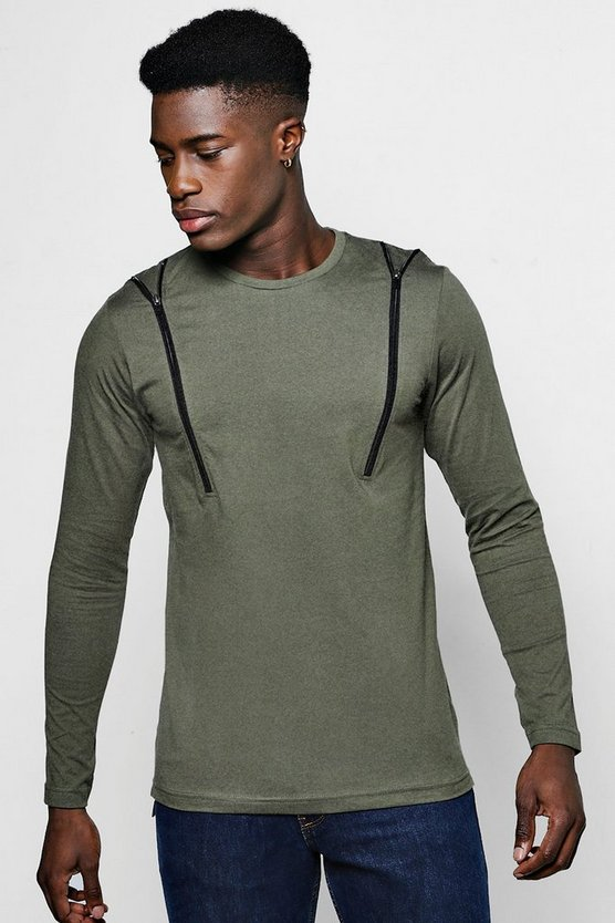 Long Sleeve Chest Zip T-Shirt