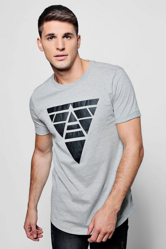 Longline Printed T-Shirt With Roll Sleeves