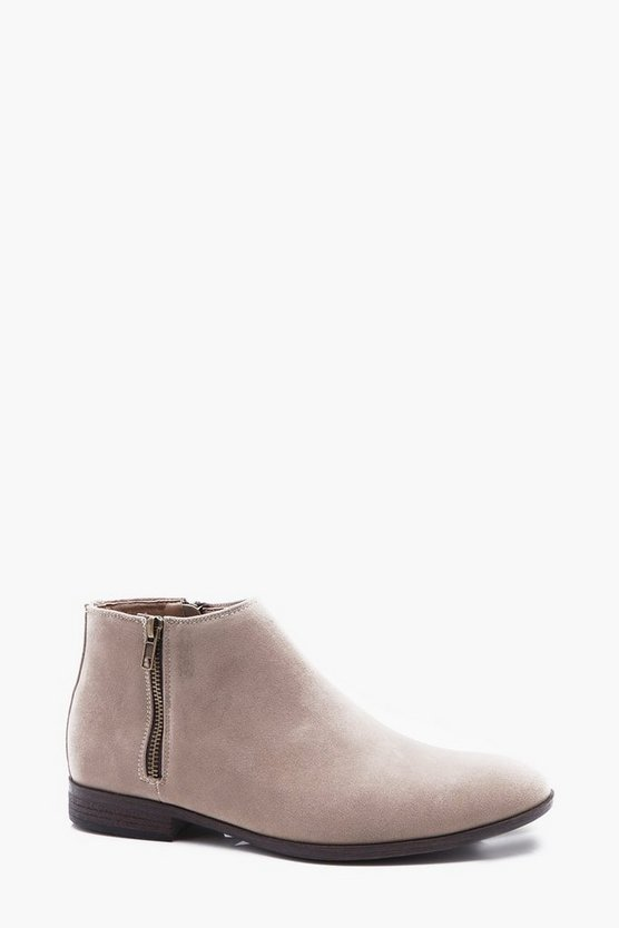Faux Suede Zip Chelsea Boot