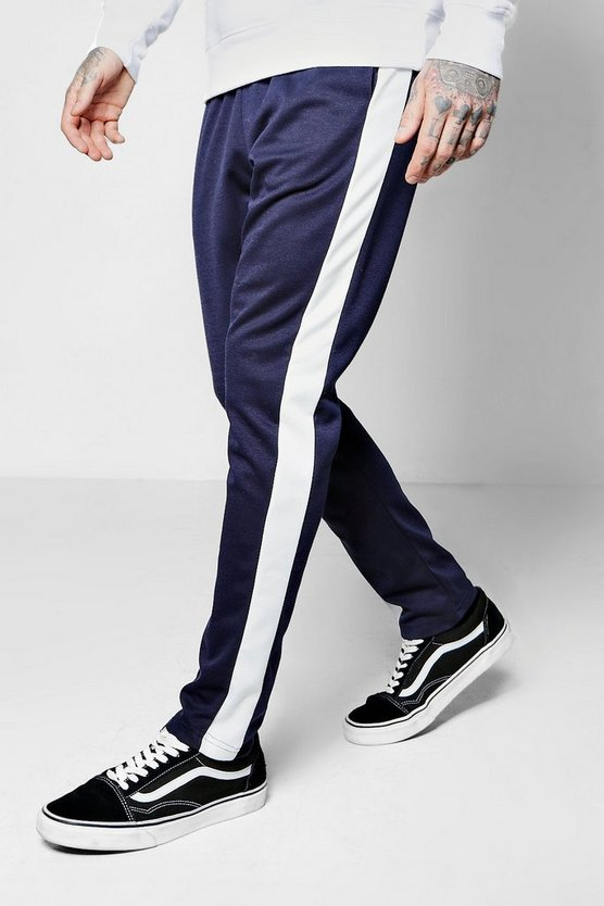 Skinny Fit Panel Joggers With Elongated Drawcord