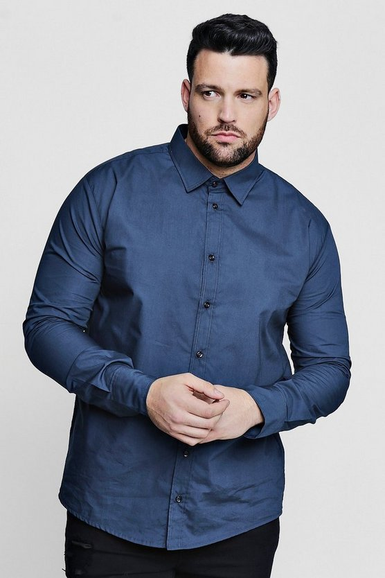 Big and Tall Navy Poplin Long Sleeve Shirt