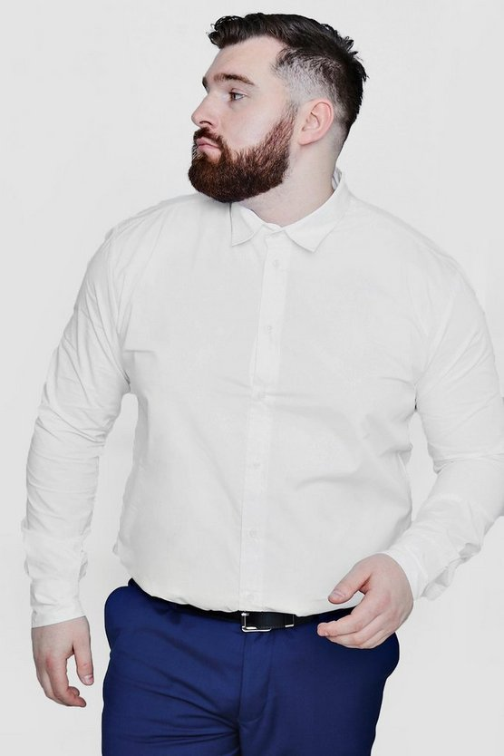 Big and Tall White Poplin Long Sleeve Shirt