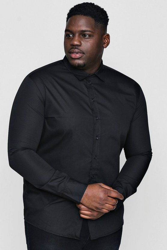 Big and Tall Black Poplin Long Sleeve Shirt
