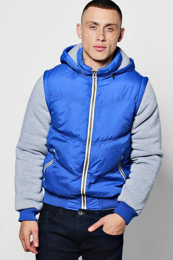 Padded Jacket With Hood And Jersey Sleeves