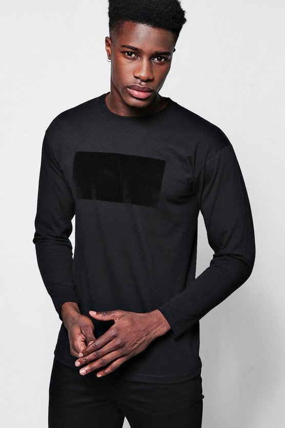 Long Sleeve Velvet Panel T-Shirt