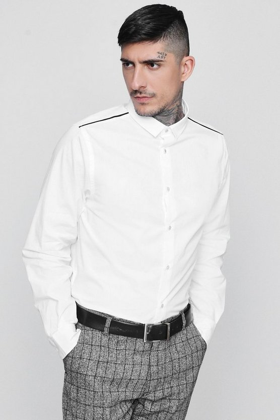 Long Sleeve Contrast Piping Shirt