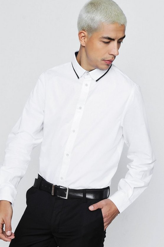 Long Sleeve Contrast Collar Shirt