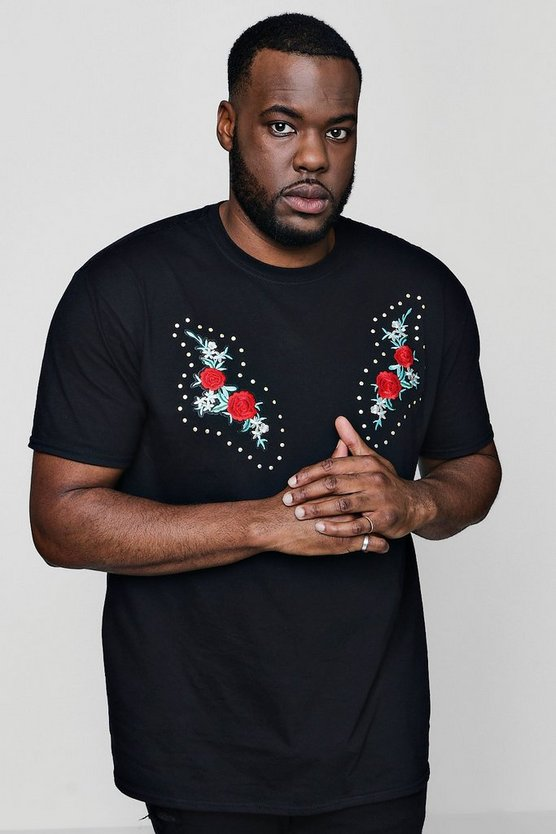 Big And Tall Twin Rose Studded T-Shirt