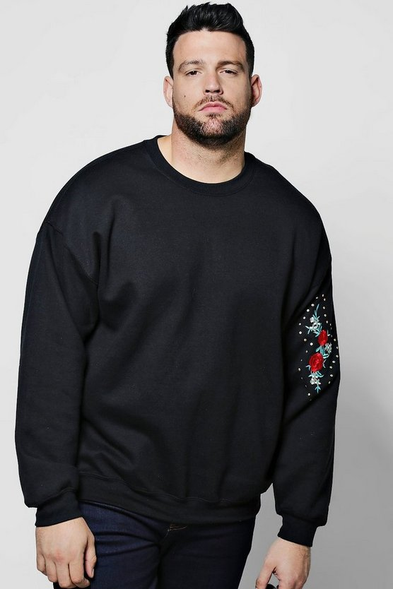 Big And Tall Arm Rose Embroidered Sweater