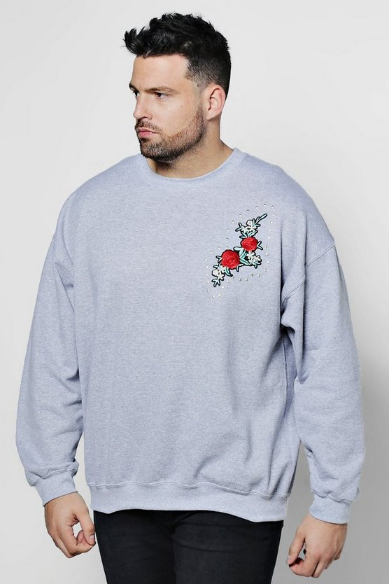 Big And Tall Rose Chest Embroidered Sweater