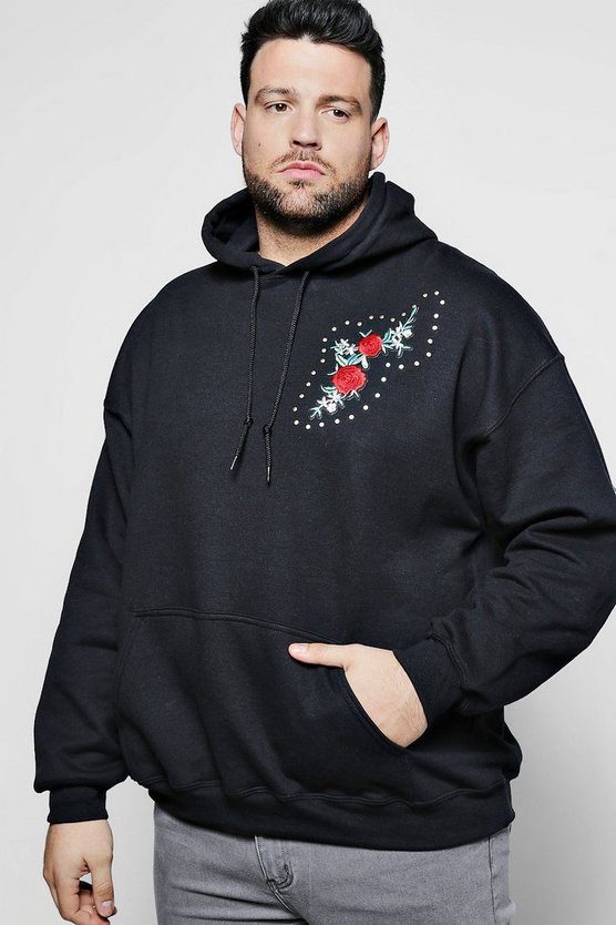 Big And Tall Rose Chest Embroidery Hoodie