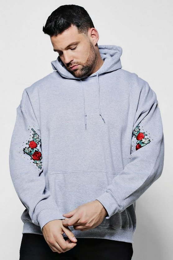 Big And Tall Twin Sleeve Rose Embroidered Hoodie