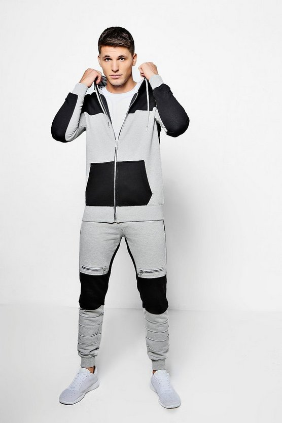 Skinny Fit Colour Block Biker Tracksuit