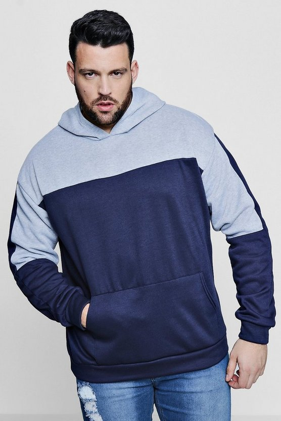 Big And Tall Colour Block Over The Head Hoodie