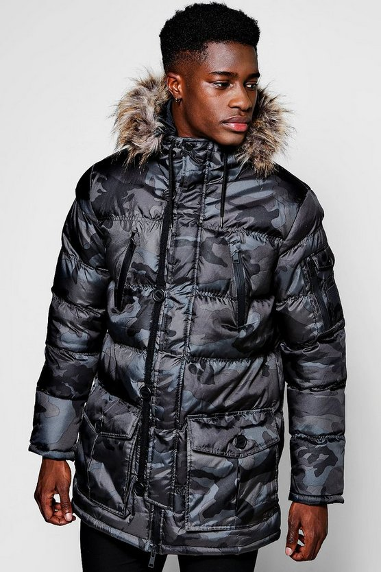 Grey Camo Padded Parka With Faux Fur Hood