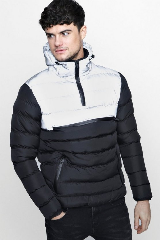 Over The Head Puffer Jacket With Reflective Panel