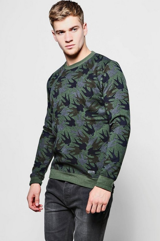 All Over Bird Print Sweater