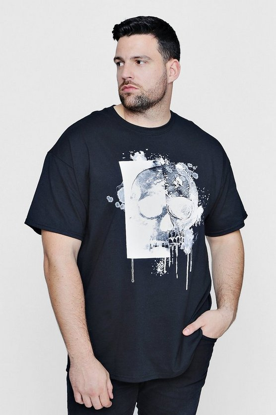 Big And Tall Skull Print T-Shirt