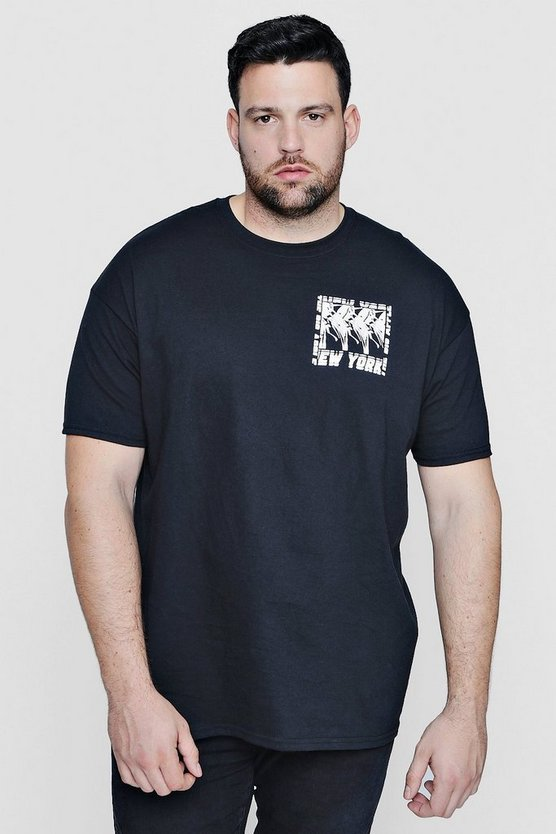 Big And Tall New York Chest Print T-Shirt