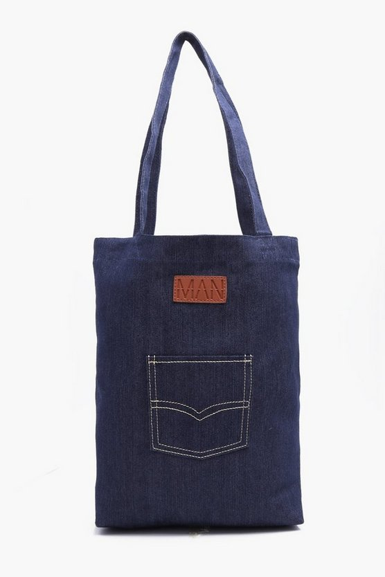 MAN Embroidered Denim Tote Bag