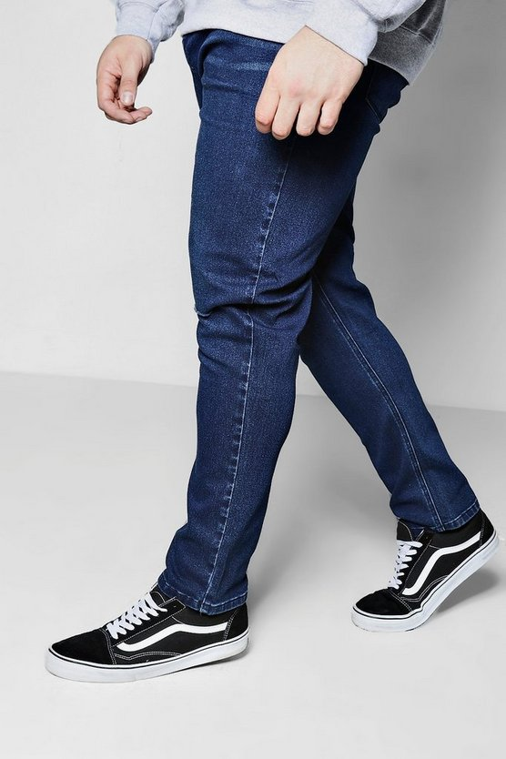 Big And Tall Slim Fit Ripped Knee Jeans