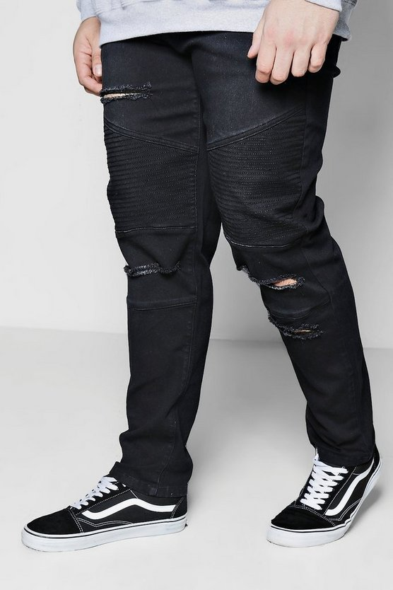 Big And Tall Slim Fit Biker Ripped Jeans