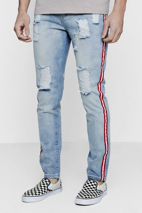 Slim Fit Taped and Distressed Denim Jeans