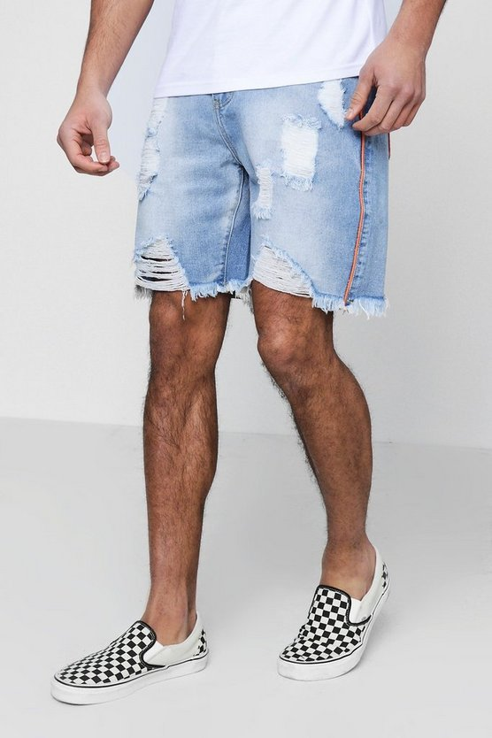 Distressed Bermuda Denim Shorts With Piping