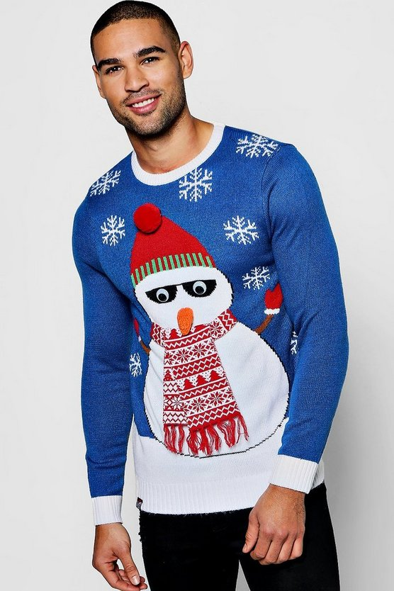 3D Eye Snowman Christmas Jumper