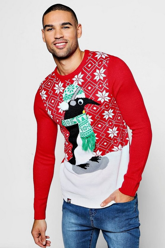 3D Eye Penguin Christmas Jumper
