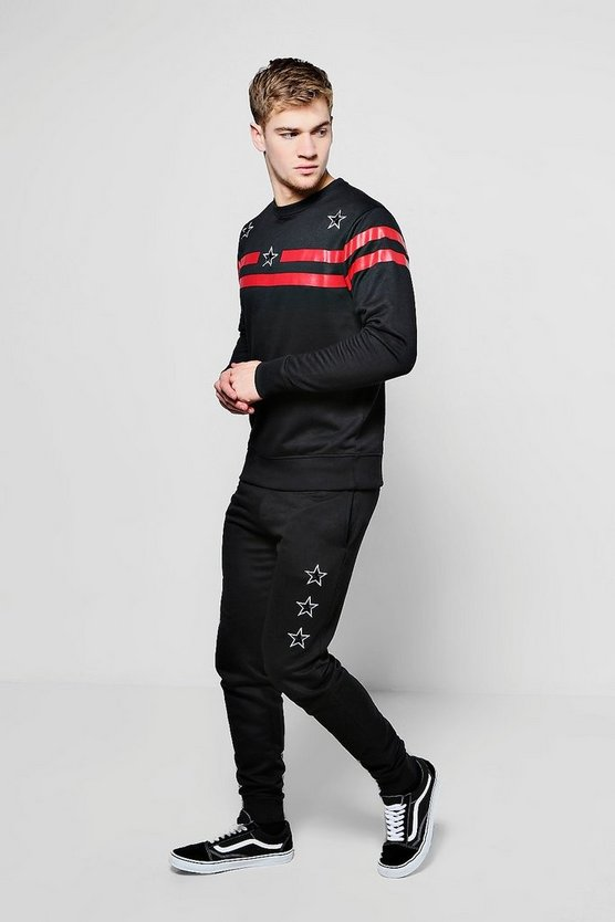 Skinny Fit Stripe & Star Sweater Tracksuit
