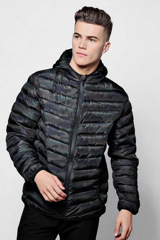 Hooded Camo Puffer Coat