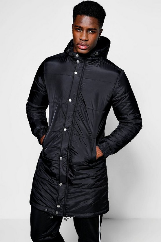 Longline Funnel Neck Puffer Coat