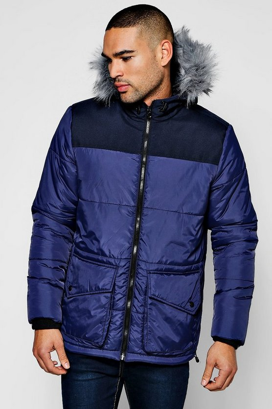 Zip Through  Hooded Padded Parka