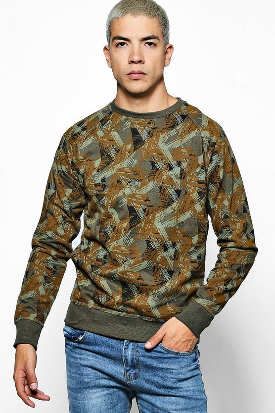 Crew Neck Raglan Sweater With Splash Print