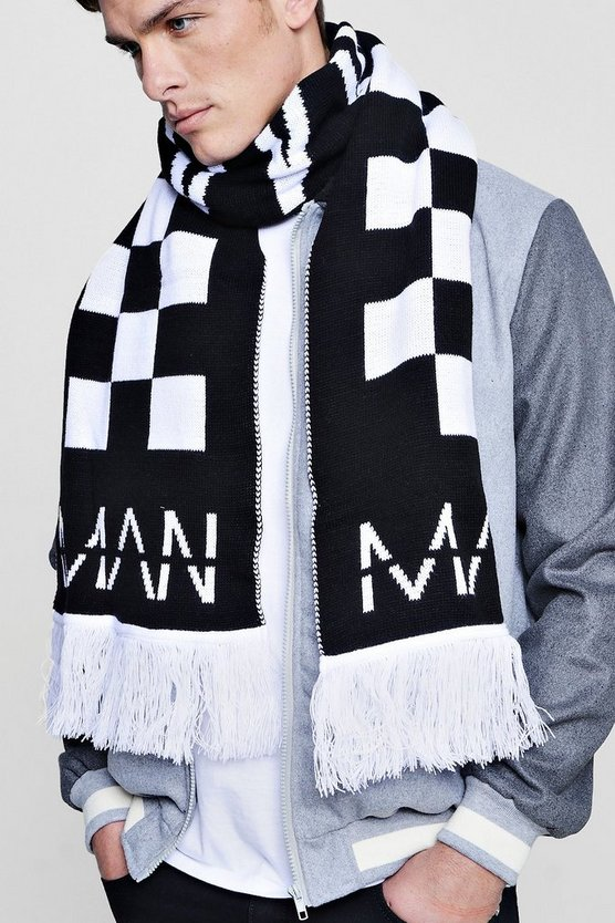 Oversized MAN Checkered Scarf