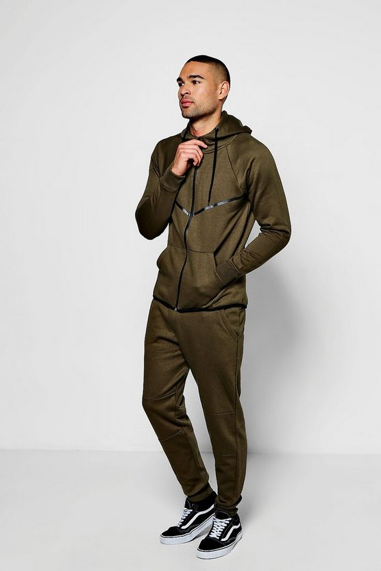 Skinny Fit Stripe Panel Tracksuit