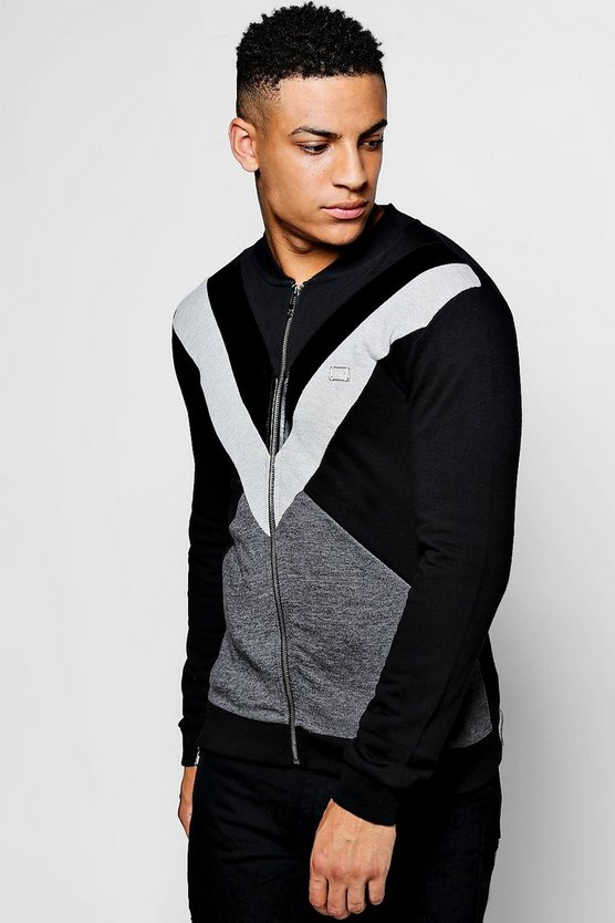 Spliced Colour Block Jersey Bomber