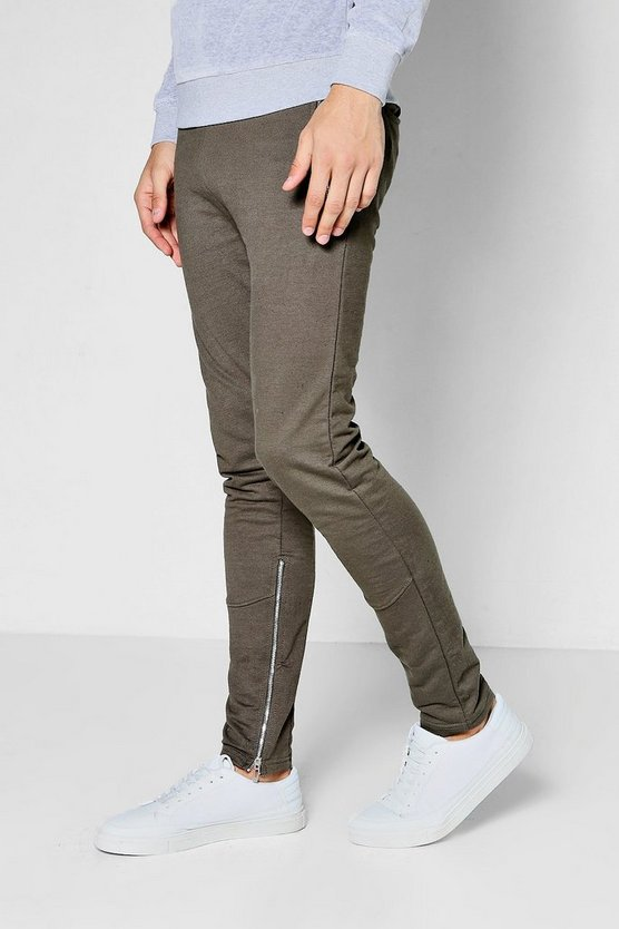 Skinny Fit Joggers With Side Zips