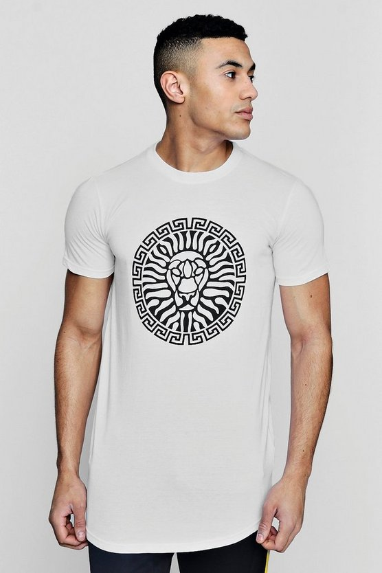 Lion Print T-Shirt With Curve Hem