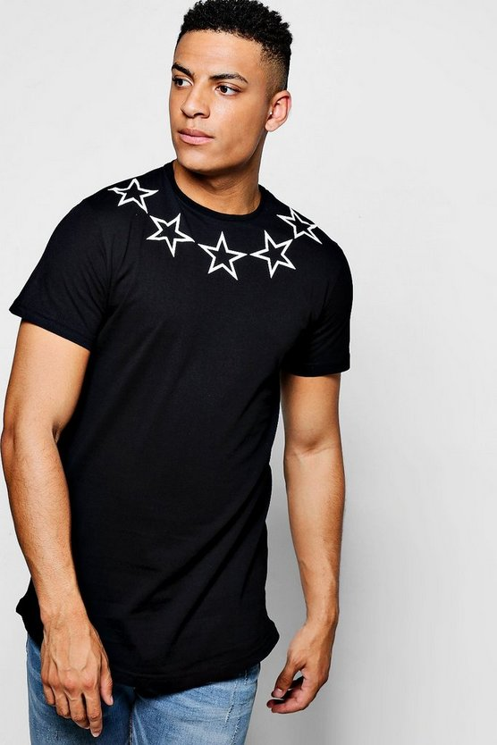 Star Print T-Shirt With Curve Hem